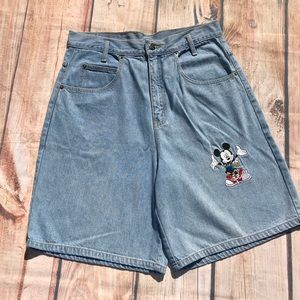 R Disney Mickey Mouse High Waisted Jean Shorts